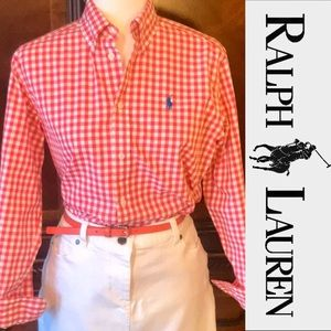 RALPH LAUREN gingham cotton button down shirt